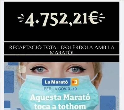 """""""Olèrdola amb La Marató"""" tanca balanç econòmic i recapta 4.752 €"""