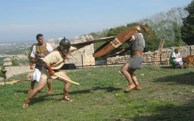 Recreació d'una lluita de guerrers ibers