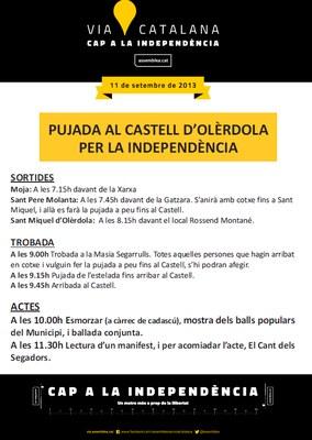 """Aquest 11 de Setembre es convoca al matí la """"Pujada al Castell d'Olèrdola per la Independència"""""""