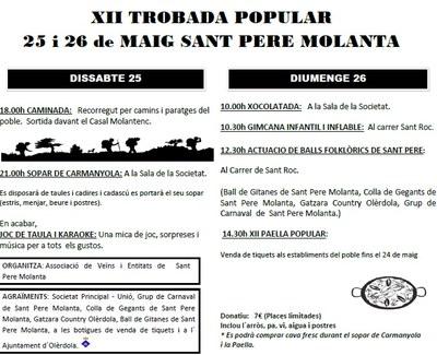 Aquest cap de setmana Sant Pere Molanta viurà la 12a edició de la seva Trobada Popular