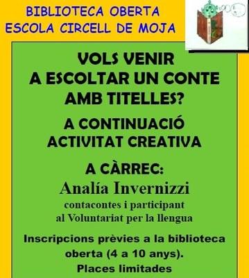 Aquest dijous s'ha programat un espectacle de titelles amb taller creatiu al Servei de Biblioteca Oberta de l'escola Circell de Moja