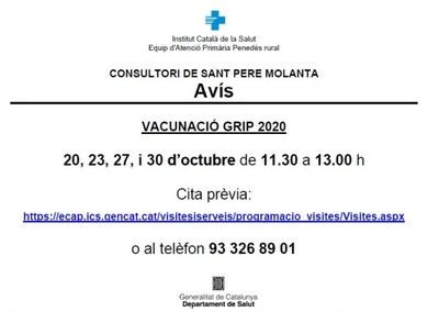 Aquest dimarts comença la campanya de vacunació de la grip als consultoris d'Olèrdola
