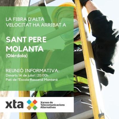 Aquest dimarts l'empresa XTA oferirà una xerrada pública a Sant Pere Molanta per presentar el desplegament de fibra òptica
