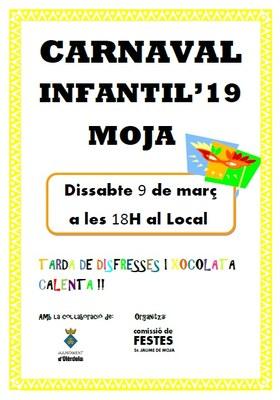 Aquest dissabte la Comissió de Festes de Moja organitza una festa infantil de Carnaval