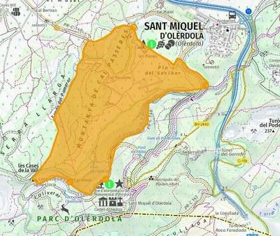 El mapa marca la zona de Les Planes i Cal Passeres, on també es preveu que es pugui realitzar la batuda