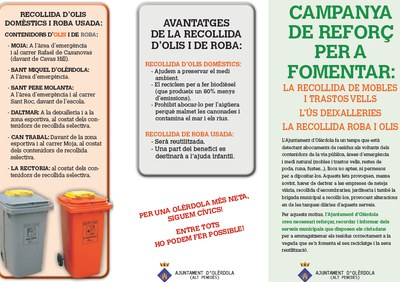 Campanya per reciclar olis i roba, fomentar la recollida de mobles i l'ús de deixalleries