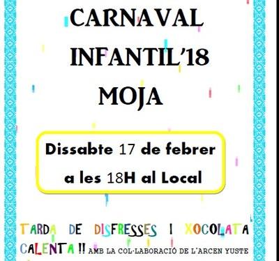 Carnaval infantil a Moja aquest dissabte a la tarda, amb disfresses, confeti, música i xocolatada