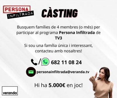 Càsting pel concurs  'Persona Infiltrada' de TV3