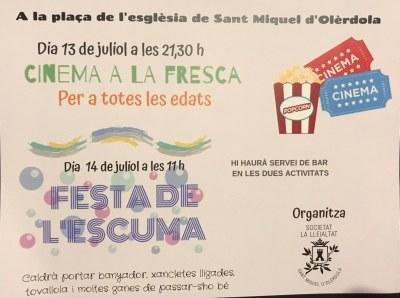 Cinema a la fresca i festa de l'escuma, aquest cap de setmana a Sant Miquel