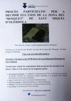 Comença el procés de participació  ciutadana per a decidir els usos de la zona del Bosquet de Sant Miquel