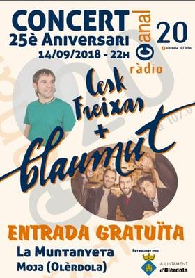 Concert gratuït amb Cesk Freixas i Blaumut el 14 de setembre per celebrar els 25 anys de Canal 20