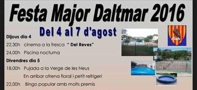 Confirmat el programa d'actes de la Festa Major de Daltmar, del 4 al 7 d'agost