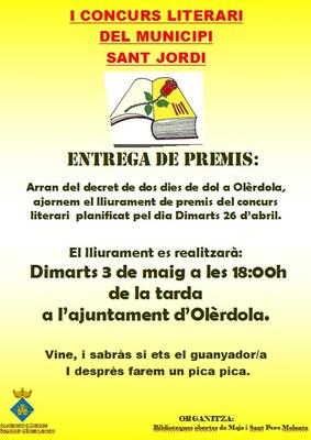 Convocat per dimarts l'acte de lliurament de premis del concurs literari de Sant Jordi