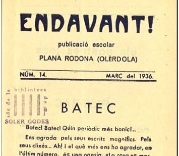 """Crida per localitzar exemplars de la revista escolar """"Endavant"""" de Plana Rodona, actual Sant Miquel"""