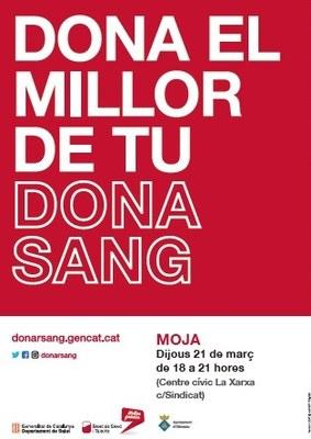 Dijous  21 de març es podrà donar sang a Moja