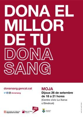 Dijous 26 de setembre es podrà donar sang a Moja