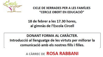 """Dijous 18 s'ha programat a l'escola Circell la segona de les xerrades del """"Cercle obert en educació"""""""