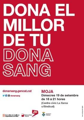 Dimecres 19 de setembre es podrà donar sang a Moja