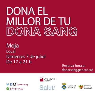 Dimecres 7 de juliol es podrà donar sang al Local Nou de Moja