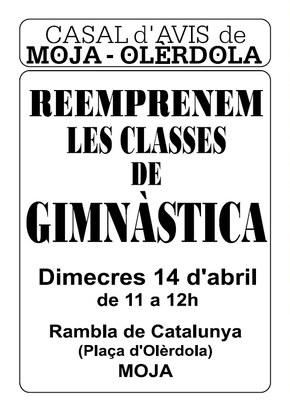 Dimecres es reprenen les classes de gimnàstica que organitza el Casal d'Avis de Moja