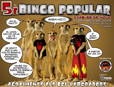 Dissabte 11 de maig els Diables de Moja organitzen la 5a edició del Bingo Popular