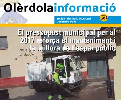 """Editat el butlletí municipal """"Olèrdola Informació"""" d'aquest mes de desembre"""