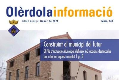 """Editat el butlletí municipal """"Olèrdola Informació"""" d'aquest mes de gener"""