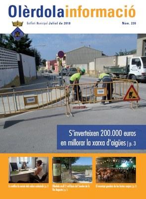 """Editat el butlletí municipal """"Olèrdola Informació"""" d'aquest mes de juliol"""
