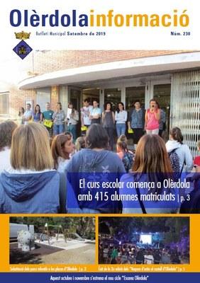 """Editat el butlletí municipal """"Olèrdola Informació"""" d'aquest mes de setembre"""