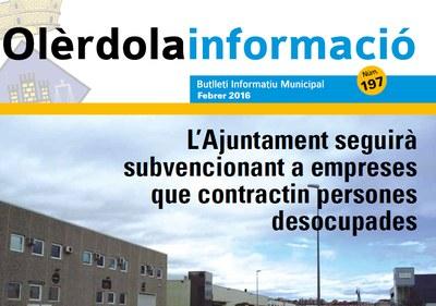 """Editat el butlletí municipal """"Olèrdola Informació"""" d'aquest mes de febrer"""