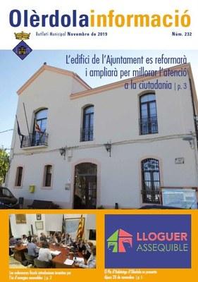 """Editat el butlletí municipal """"Olèrdola Informació"""" d'aquest mes de novembre"""