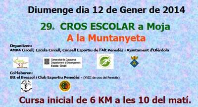 El 12 de gener hi haurà cros escolar a Moja
