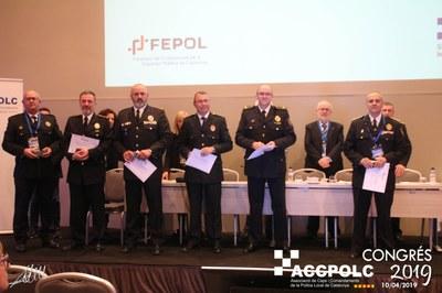 El cap dels guàrdies municipals d'Olèrdola, Josep Miquel Escofet, rep el reconeixement de l'Associació de Caps i Comandaments de Policia Local