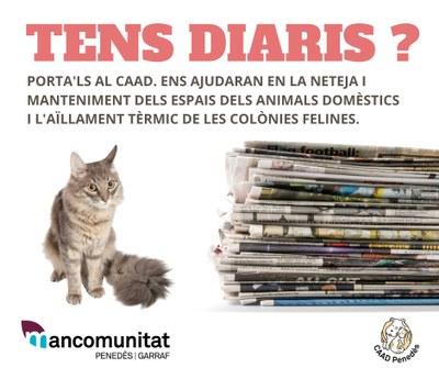 El Centre d'Acollida d'Animals Domèstics del Penedès fa una crida ciutadana per recollir diaris