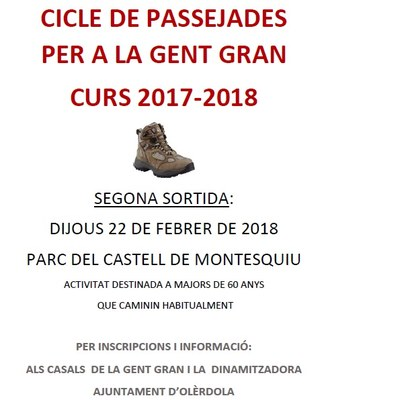 El Cicle de Passejades per a la gent gran continua amb una sortida al Parc del Castell de Montesquiu