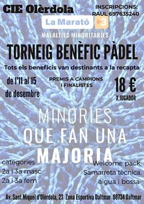 El CIE Olèrdola organitza un torneig solidari de pàdel a benefici de La Marató