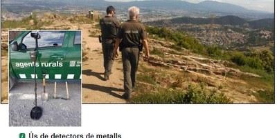 El Cos d'Agents Rurals recorda que l'ús de detectors de metalls amb finalitats arqueològiques està sotmesa a autorització