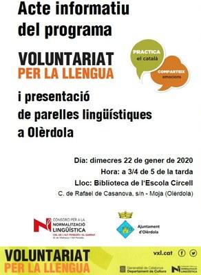 El programa de Voluntariat per la Llengua es presentarà en un acte informatiu dimecres a Moja