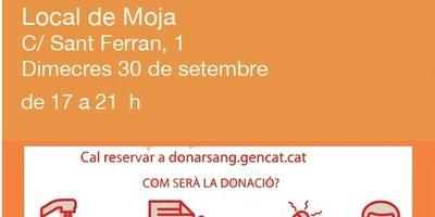 El proper dimecres 30 de setembre es podrà donar sang a Moja