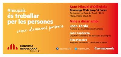 ERC convoca diumenge a Olèrdola un dinar obert a tothom amb Joan Tardà
