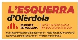 ERC d'Olèrdola edita un butlletí exposant el treball que fa a l'Ajuntament
