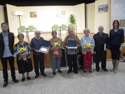 Durant la Trobada van rebre la placa de reconeixement 3 de les 4 parelles del municipi que fan les Noces d'Or
