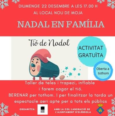Festa de Nadal a Moja aquest diumenge amb tió, tallers  i espectacle d'animació