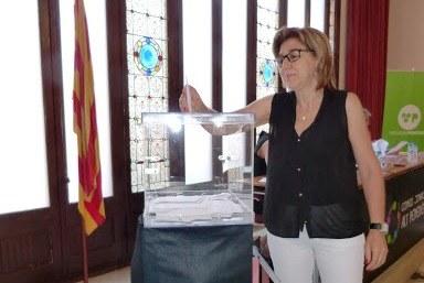 Fina Mascaró, durant el ple de constitució del Consell Comarcal