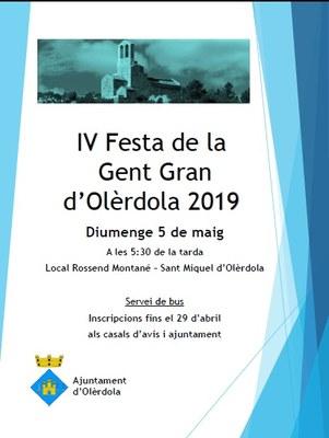 Fins dilluns es poden fer les inscripcions pel servei gratuït d'autocar de la 4a Festa de la Gent Gran d'Olèrdola