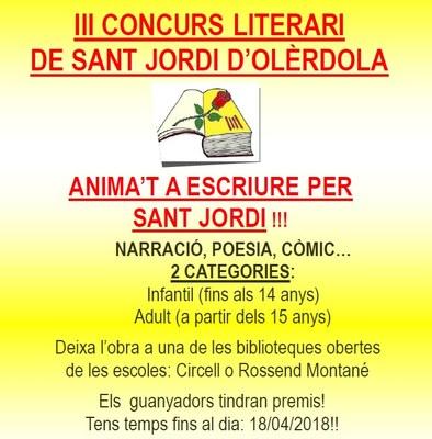 Fins dimecres es poden presentar obres al 3r Concurs Literari de Sant Jordi d'Olèrdola