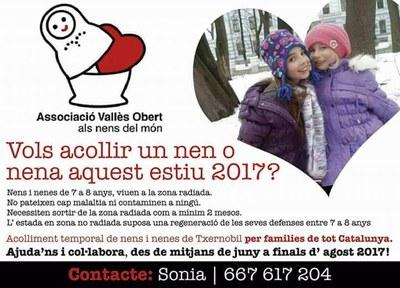 Implicació d'Olèrdola en la crida per acollir durant l'estiu a infants de Txernòbil