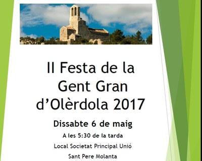 Inscripcions obertes fins el 28 d'abril per a participar en la II Festa de la Gent Gran d'Olèrdola