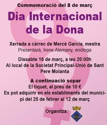Inscripcions obertes per a participar en el sopar de commemoració a Olèrdola del Dia Internacional de la Dona