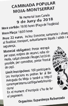 Inscripcions obertes per participar en la caminada popular Moja-Montserrat, programada pel 9 de juny
